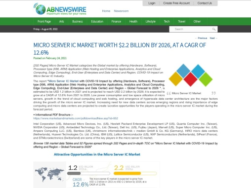 Micro Server IC Market worth $2.2 billion by 2026, at a CAGR of 12.6%