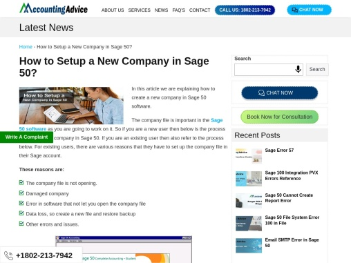 How to setup a new company in sage 50