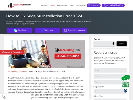 How to fix sage 50 install error 1324