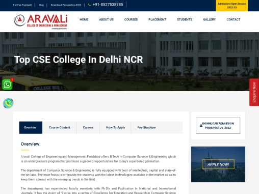 Top College for CSE in Delhi NCR, Computer Science Engineering College in Faridabad