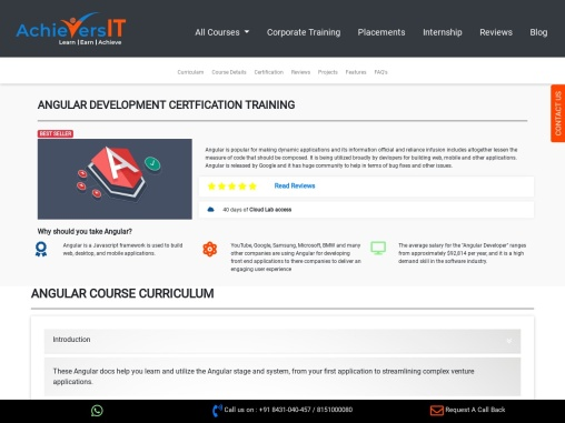 AchieversIT- Top Angular Training Insitution In Bangalore