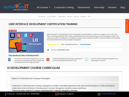 AchieversIT- Best UI Development Training Institute in Bangalore