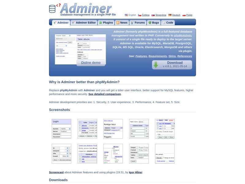 Adminer | SSHやphpMyAdminが動作しないサーバでも動作するたった1ファイルのMySQL操作スクリプト