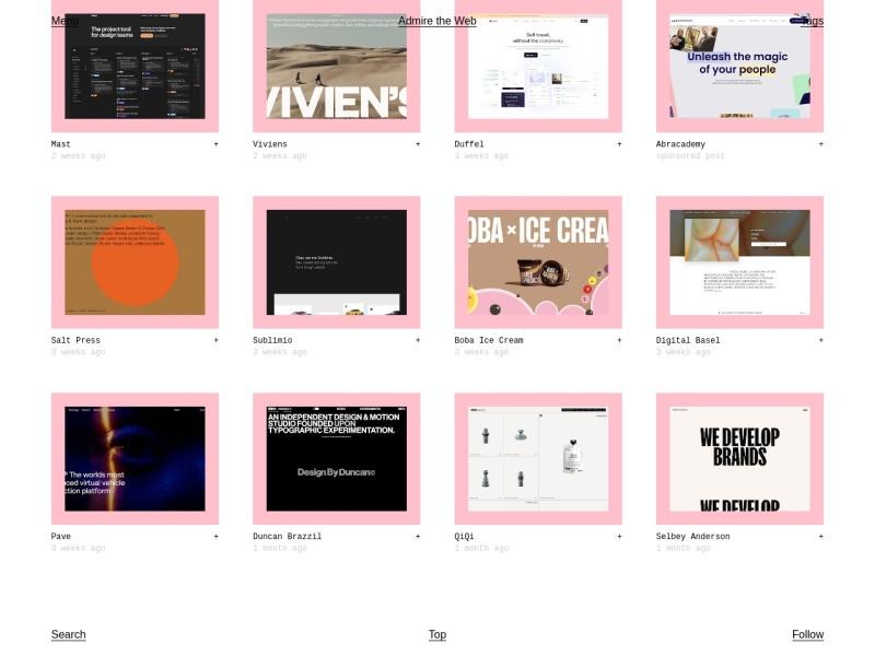 Admire The Web | ウェブデザインの参考になる【海外】デザイン集サイト