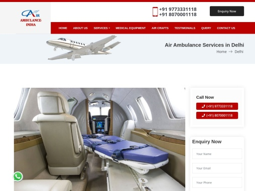 Low Cost Air Ambulance Services in Delhi – Call 9773331118