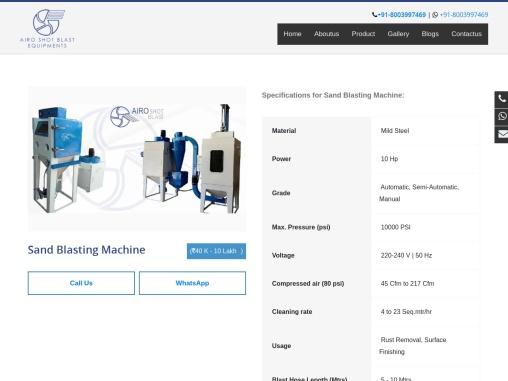 Sand blasting machine manufacturer's in India | sand blaster price in India
