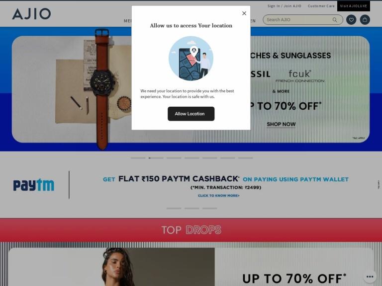 Ajio.com screenshot