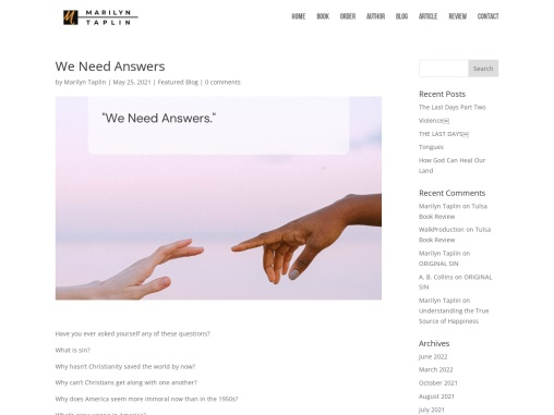 We Need Answers by Marilyn Taplin