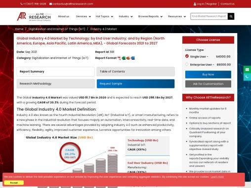 Industry 4.0 Market Report 2021-2027