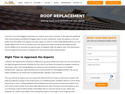 Roof replacement company Melbourne