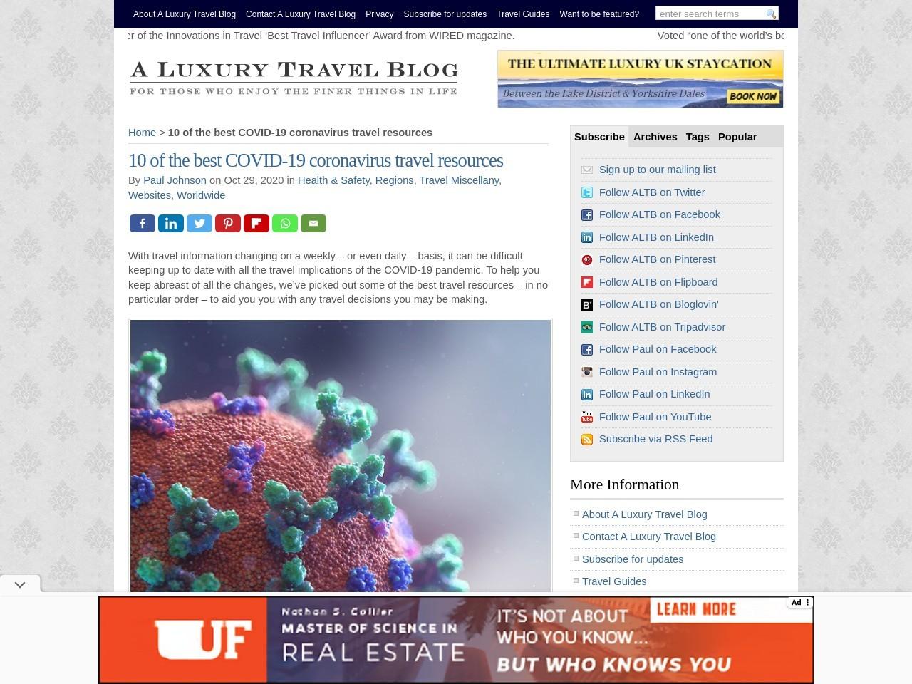 10 of the best COVID-19 coronavirus travel resources