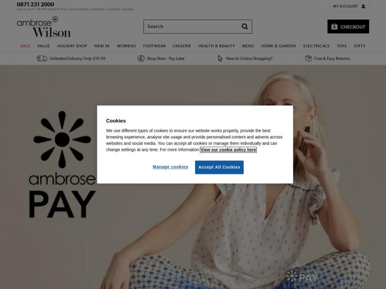 Ambrose Wilson Discount Codes screenshot