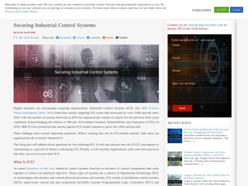 Securing Industrial Control Systems | Cyber Security | Ampcus Cyber
