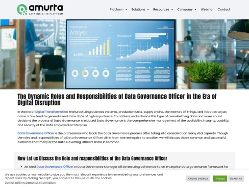 The Dynamic Roles and Responsibilities of Data Governance Officer in the Era of Digital Disruption