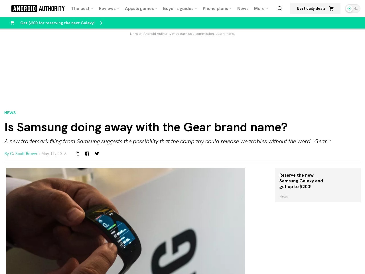 Samsung trademarks new wearables without the word Gear