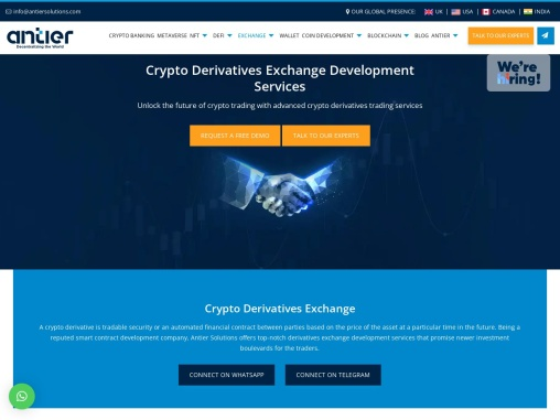 Build you own crypto exchange with derivative trading at Antier Solutions