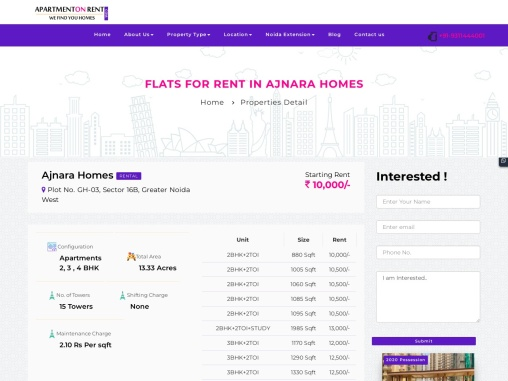 Affordable Apartment for rent in Ajnara Homes