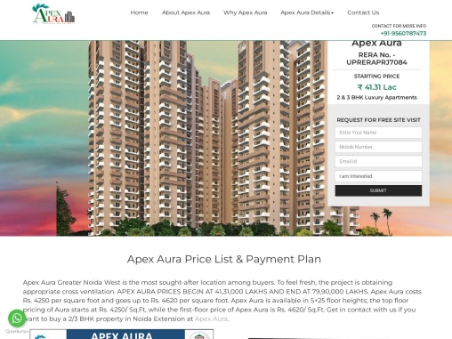 Buy Apex Aura Price List Property In Sector-1 Noida Extension