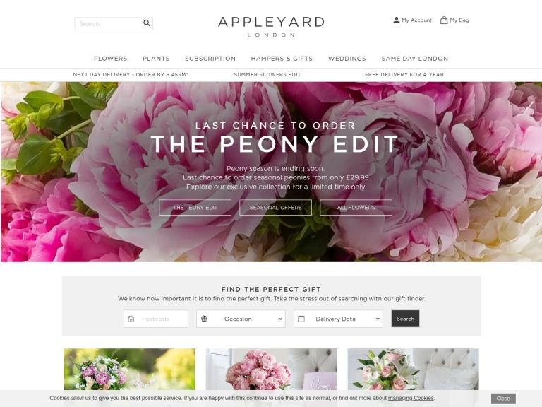 Appleyard Flowers Free Delivery screenshot