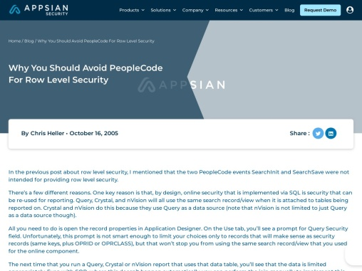 Why You Should Avoid PeopleCode For Row Level Security