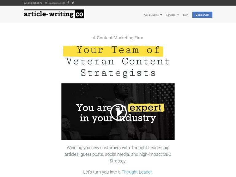 Article Writing Company screenshot