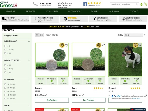 Buy Artificial Grass Birmingham at affordable price and offers!