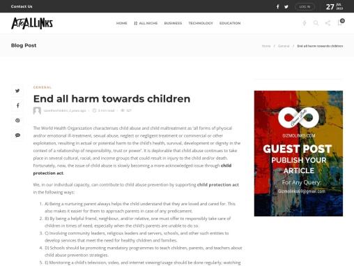 End all harm towards children