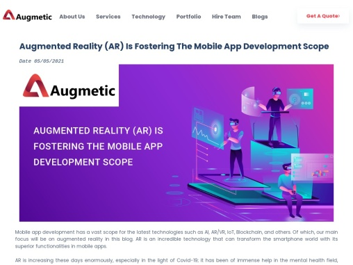 Augmented Reality (AR) Is Fostering The Mobile App Development Scope