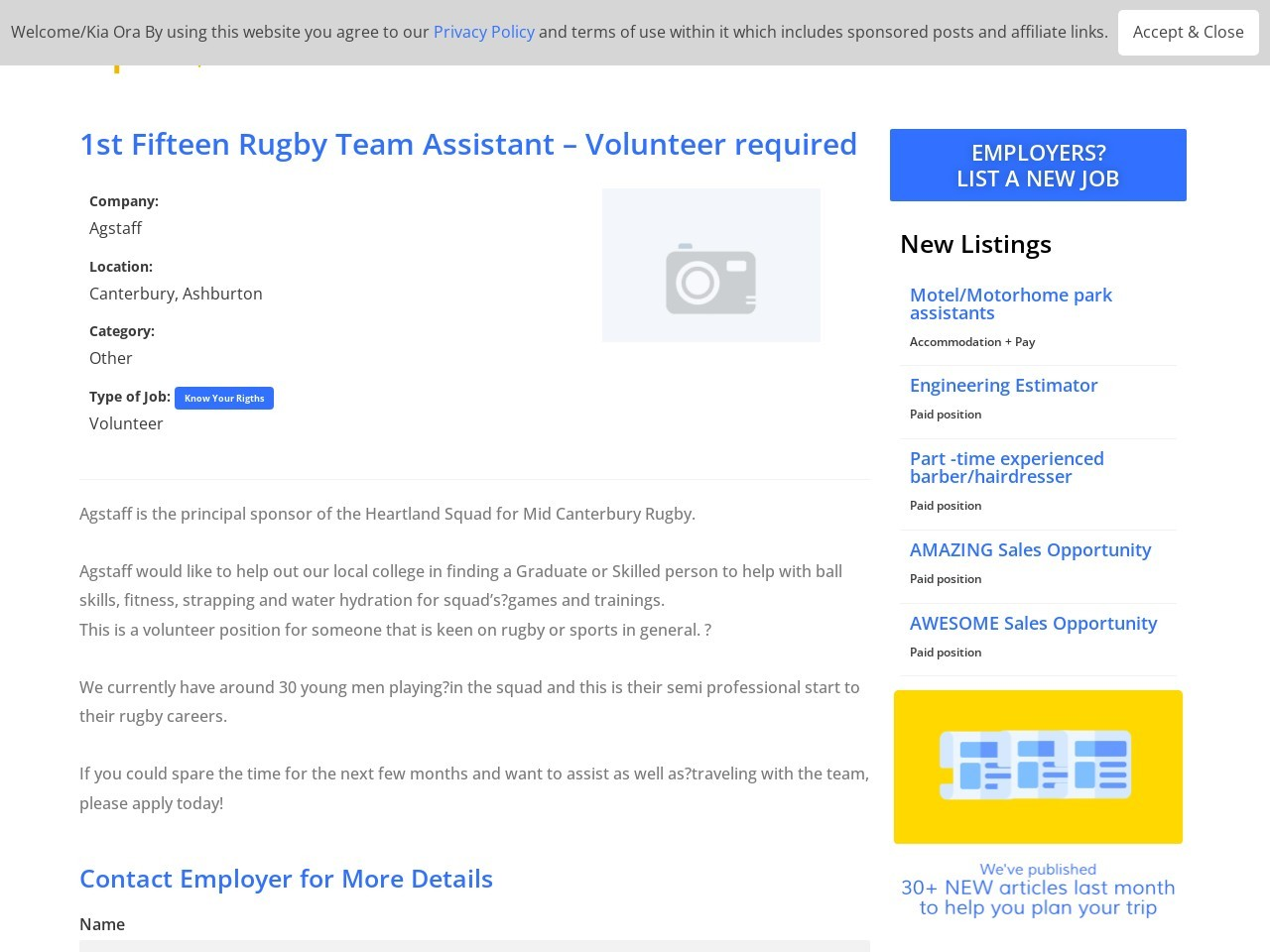 1st Fifteen Rugby Team Assistant | Volunteer required