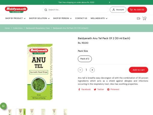 Buy Baidyanath Anu Tel (Oil) Nose Drops – 10 ml Online at Best Price   Baidyanath