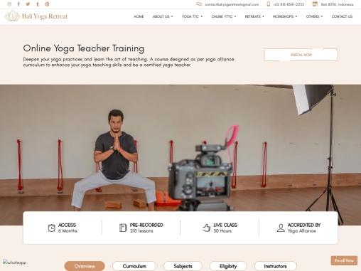 200-Hour Online  Yoga Teacher Training Course in Bali