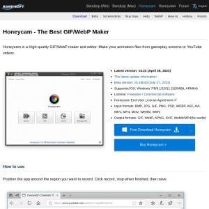 Honeycam · Free Download · The Easiest GIF/WebP Creator