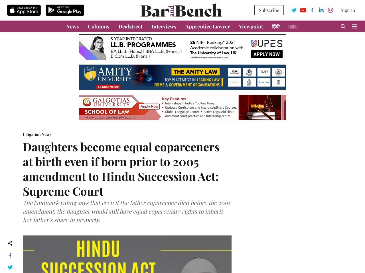 Daughters become equal coparceners at birth even if born prior to 2005 amendment to Hindu Succession…