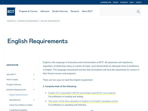 English Requirements