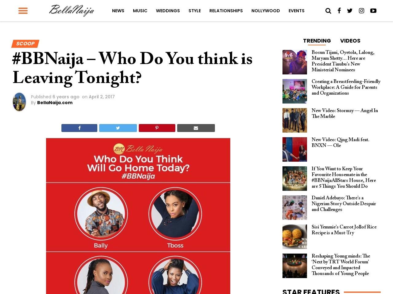 #BBNaija – Who Do You think is Leaving Tonight?