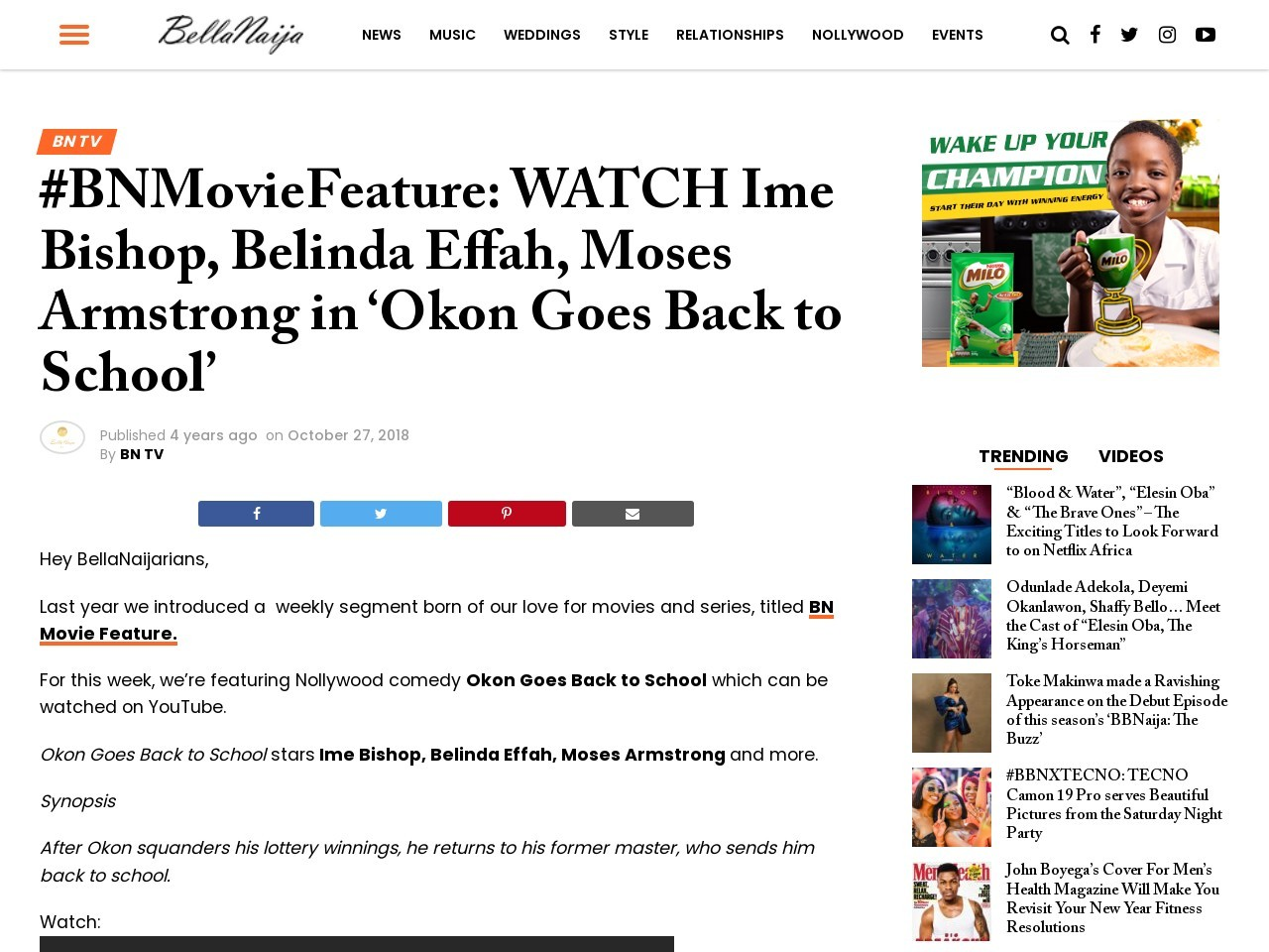 #BNMovieFeature: WATCH Ime Bishop, Belinda Effah, Moses Armstrong in 'Okon Goes Back to School'