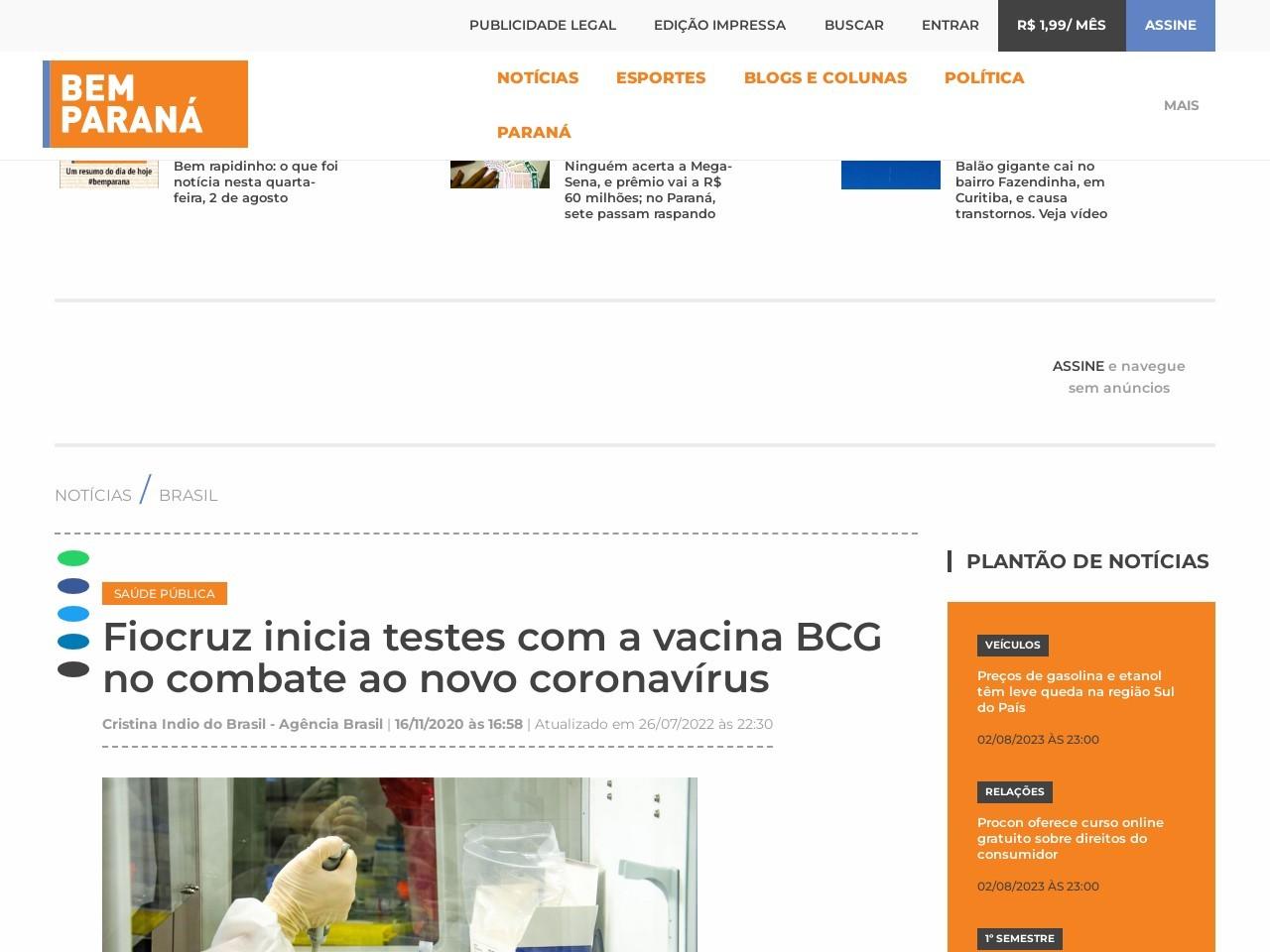 Fiocruz inicia testes com a vacina BCG no combate ao novo coronavírus - Bem Paraná