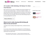 Best 40th birthday gift ideas for men and women