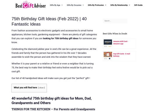75th Birthday Gift Ideas for Men and Women