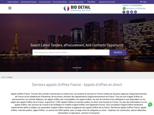France tender details issued by French Government