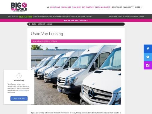Van Leasing Swindon – Big Van World