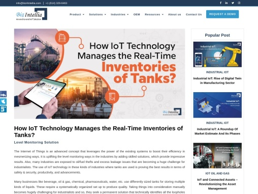 How IoT Technology Manages the Real-Time Inventories of Tanks?