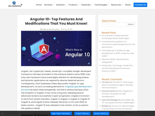 The key features and notable Updates of Angular10!
