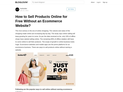 Bloglovin- How to Sell Products Online for Free Without an Ecommerce Website?