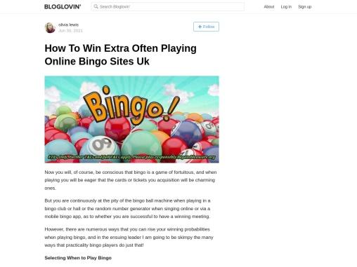 How To Win Extra Often Playing Online Bingo Sites Uk