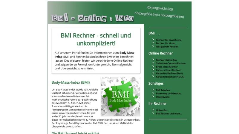 www.bmi-online.info Vorschau, BMI Rechner