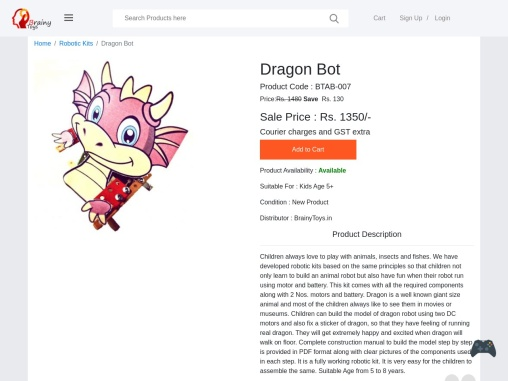 Buy Dragon Bot at Lowest Price – BrainyToys – Build Model of Dragon Robot