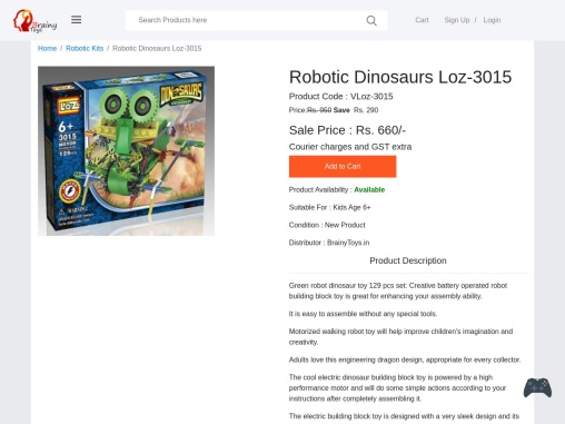 Buy Robotic Dinosaurs Loz-3015 at Lowest Price – Robotic Kits Manufacturer Suppliers – Brainy Toys