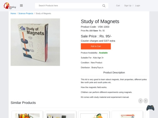 Learning About Magnets – Robotic Science Projects and Experiments – Buy Science Project for Kids