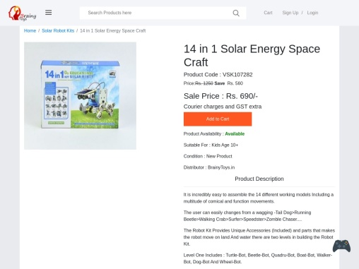 Buy 14 in 1 Solar Energy Space Craft at Lowest Price – BrainyToys – Solar Energy Kit Suppliers